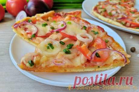 Быстрая пицца без дрожжей на сковороде