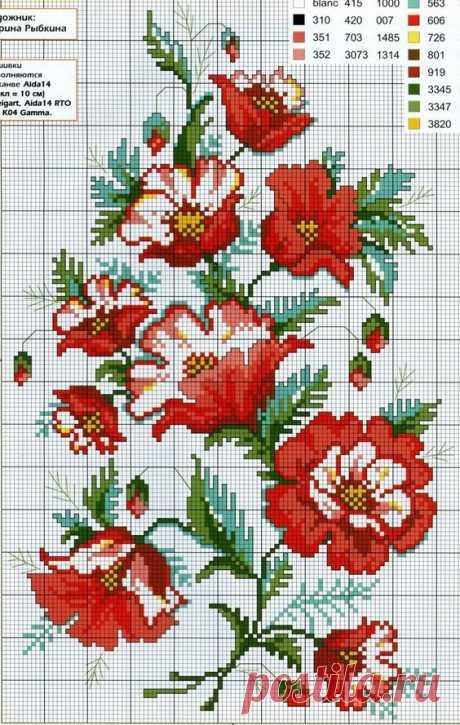 Подборка схем для цветочной вышивки. Бесплатные схемы для вышивки цветов   Домоводство для всей семьи.