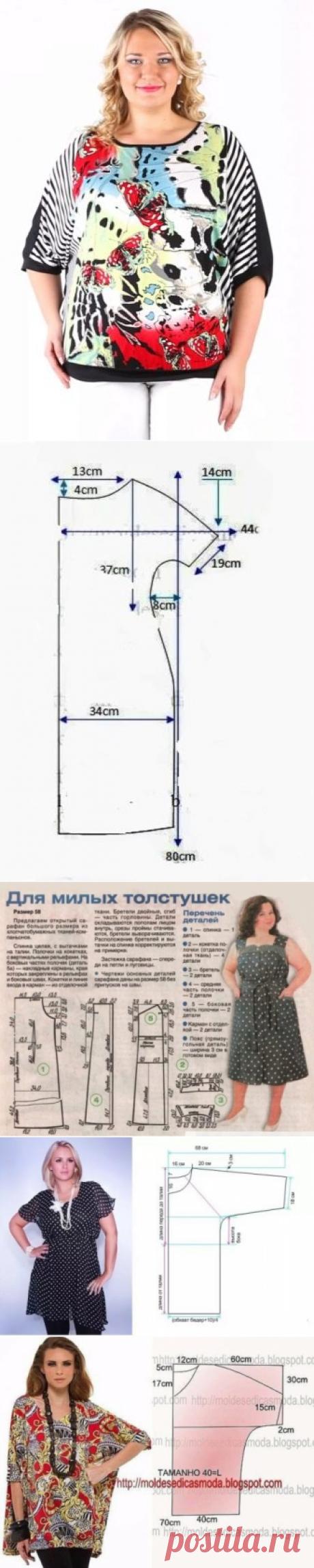 Выкройка блузки для полных женщин (49 фото): летние блузоны-туники большого размера своими руками