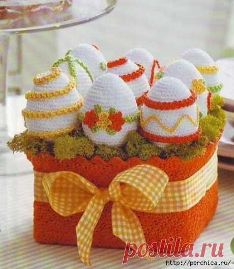 Вязаный декор пасхальных яиц - мк и схемы