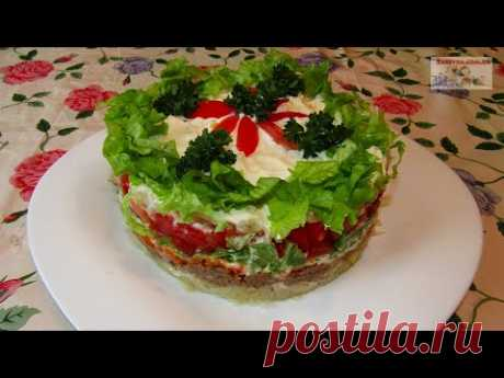 Слоеный салат с тунцом (+ВИДЕО) - Затейка.com.ua - рецепты вкусных десертов, уроки вязания схемы, народное прикладное творчество