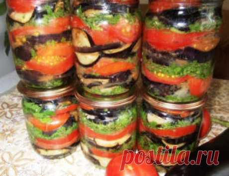 Самые проверенные рецепты - Вкусные баклажаны консервированные с помидорами