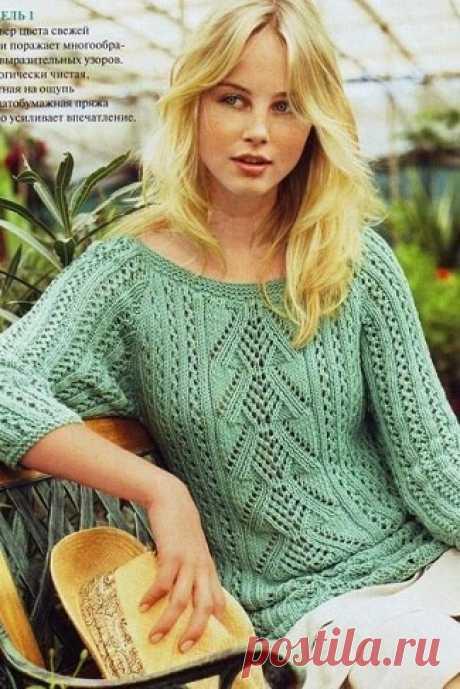 Ажурный пуловер с рукавами реглан