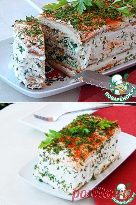 Закусочный торт с брынзой и шпинатом - кулинарный рецепт