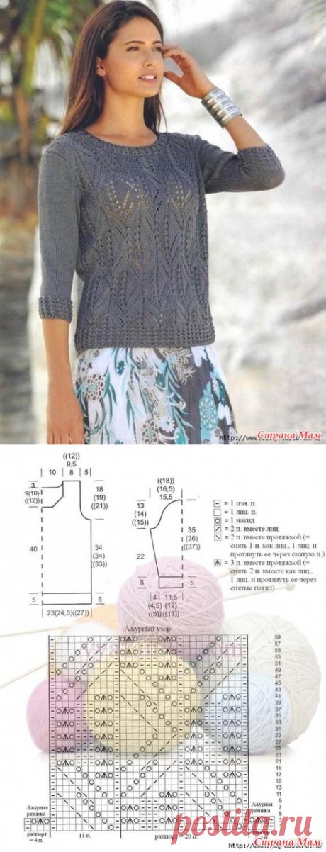 . Легкий ажурный пуловер спицами - Вязание - Страна Мам