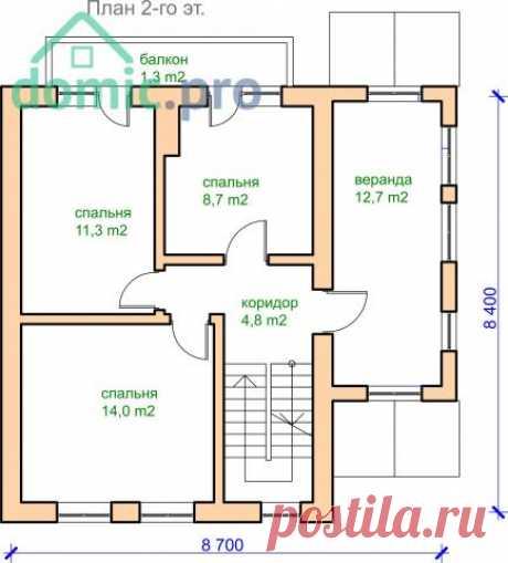 Типовой проект компактного двухэтажного коттеджа с балконом — Архитектурное бюро «Домик.про»