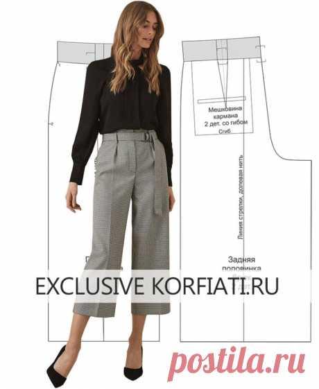Выкройка брюк с завышенной талией от Анасстасии Корфиати