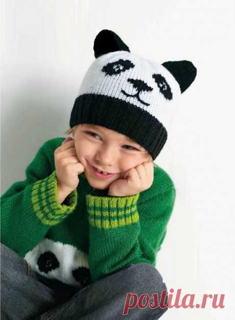 Узор панда спицами для шапок и варежек, Вязание для детей