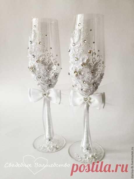 """Купить Свадебный набор """"Нежное кружево"""" - белый, свадьба, свадебные аксессуары, свадебные бокалы"""
