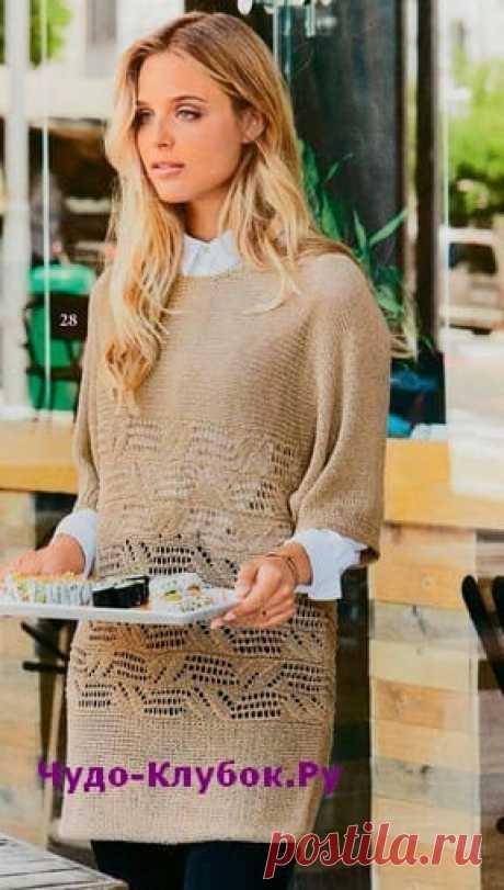 Удлиненный пуловер бежевого цвета вязаный спицами 1923 | ✺❁сайт ЧУДО-клубок ❣ ❂✺Удлиненный пуловер бежевого цвета вязаный спицами 1923, описание и схемы к нему: ❂ ►►➤6 000 ✿моделей вязания ❣❣❣ 70 000 узоров►►Заходите❣❣ %