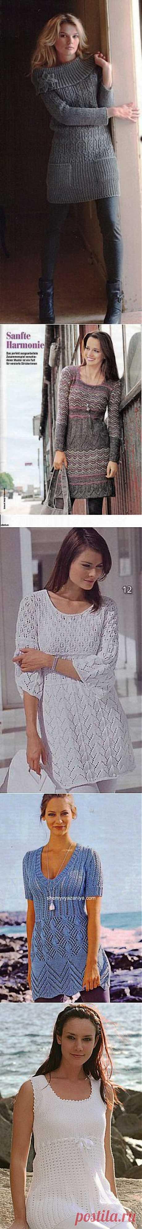 .Туники и платья спицами - подборка | Вязание крючком и спицами