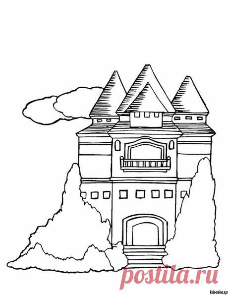 Castle coloring pages for kids. Free printable