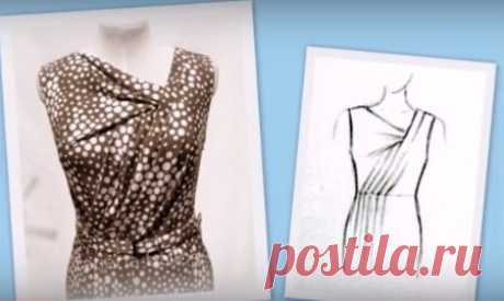 >Моделируем платье с асимметричной горловиной и драпировками по лифу