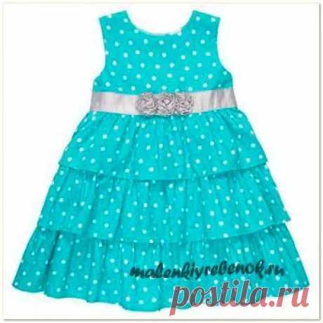 Выкройка простого платья для девочки 4,5,6,7 лет на лето.