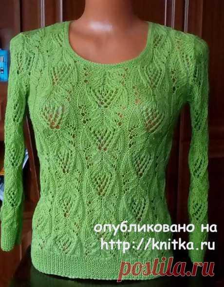 Зеленый джемпер спицами. Работа Марины Ефименко, Вязание для женщин