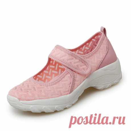 Women Mesh Breathable Hook Loop Platform Casual Sport Shoes - US$32.99