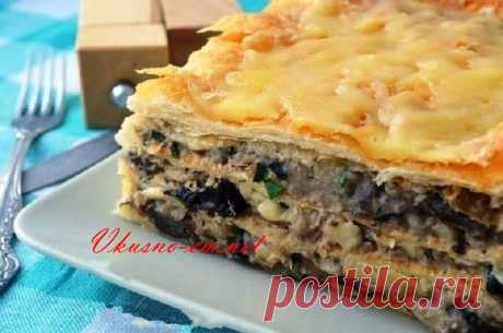 """Hot cake \""""Napoleon\"""" with potatoes and mushrooms Dear friends! Today I want to offer you not pastries – Hot cake \""""Napoleon \""""with potatoes and mushrooms. The excellent gentle snack prepares quickly and will be to the taste..."""