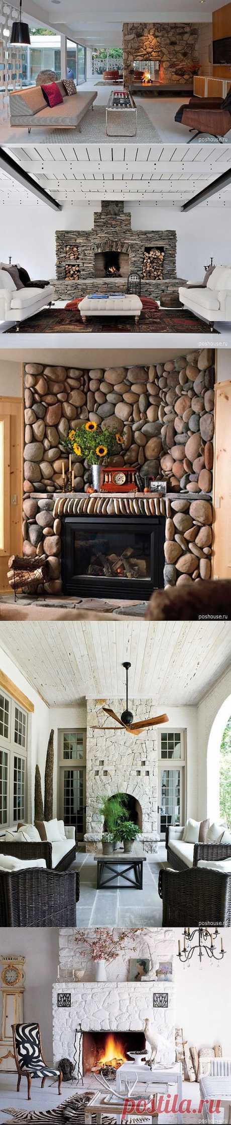 Идеи 2012 г. в дизайне интерьера гостиной комнаты с каменным камином |