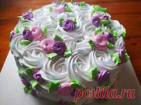 САМЫЙ ПРОСТОЙ и ЛЁГКИЙ  ВАРИАНТ. Белковый торт. Как просто  быстро и красиво украсить торт.