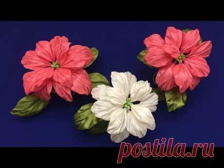 Ribbons Poinsettia.DIY/Estrella de Navidad hecha de cintas/Пуансеттия из лент