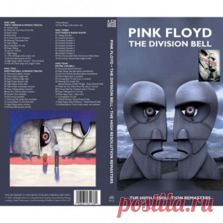 Pink Floyd - The Division Bell (The High Resolution Remasters) (2020) FLAC (tracks), Lossless | 05:14:59 | 1,84 GbRock, Discography and Box SetsCD1 - Vinyl Version & Bonus Tracks01. Cluster One (05:23)02. What Do You Want From Me (04:21)03. Poles Apaart (05:52)04. Marooned (04:20)05. A Great Day for Freedom (03:32)06. Wearing the Inside Out (06:33)07. Take It