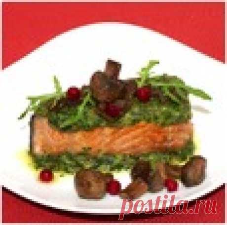 Лосось в зеленом панцире с соево-грибным соусом Кулинарный рецепт