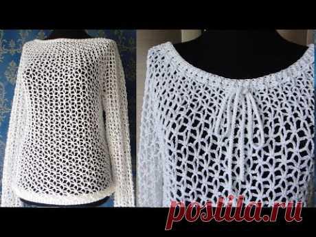 Кофта - сетка (Туника) крючком. Crochet sweater