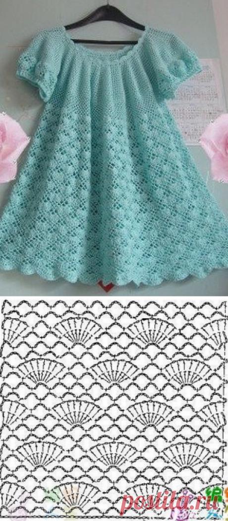 Вязание крючком узоры для детского платья