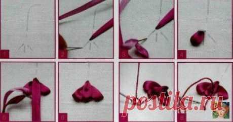 Урок по вышивке лентами