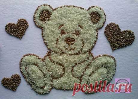 Поделки из круп и семян. Идеи для творчества с детками.
