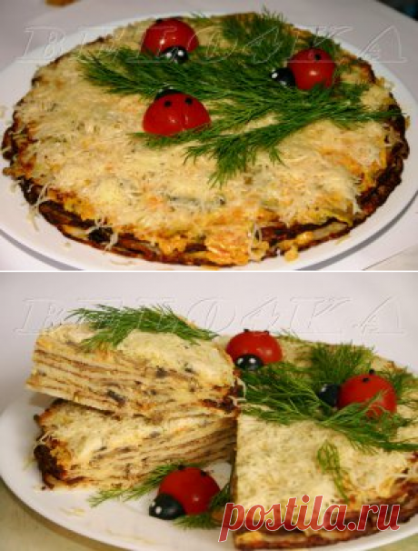 """Закусочный блинный торт """"Объедение"""" - кулинарный рецепт - Антрекот - большая кулинарная книга"""