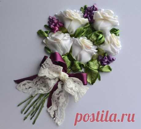 """МК по вышивке лентой """"букет белых роз""""от Марии Васильевой"""