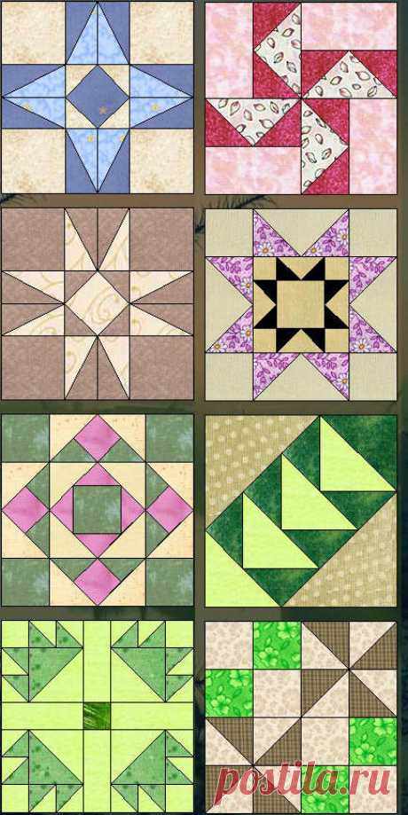 Equipment a patchwork - a collection of schemes for a sewing \/ Patchwork, scrappy sewing, quilting for beginners - equipment, a master class, a photo, scheme \/ Kluklu. Needlework - beadwork, a kvilling, an embroidery a cross, knitting