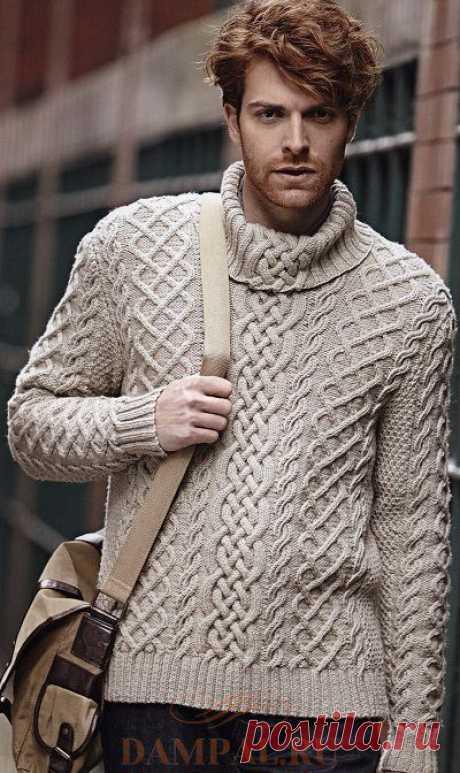 Белый мужской свитер с воротником | DAMские PALьчики. ru