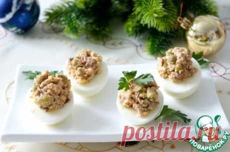 Яйца с печенью трески и горошком – кулинарный рецепт