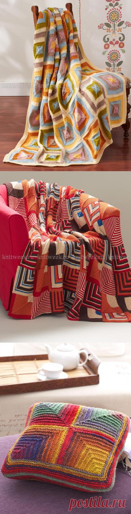 Вяжем спицами для дома: Одеяла из отдельных мотивов и Цветная диванная подушка. Спицами. / Обсуждение на LiveInternet - Российский Сервис Онлайн-Дневников