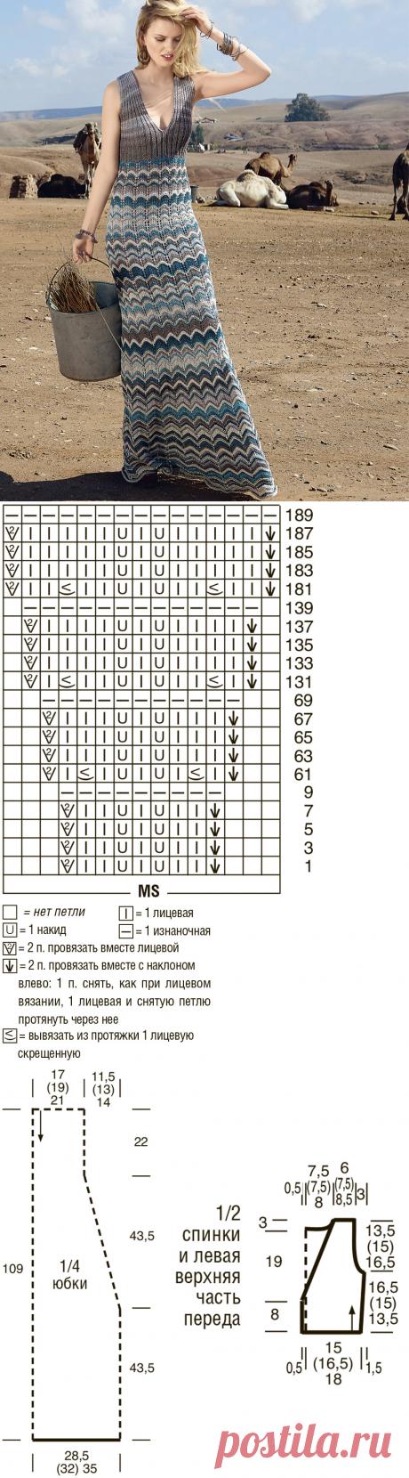 Платье макси с волнистым узором - схема вязания спицами. Вяжем Платья на Verena.ru