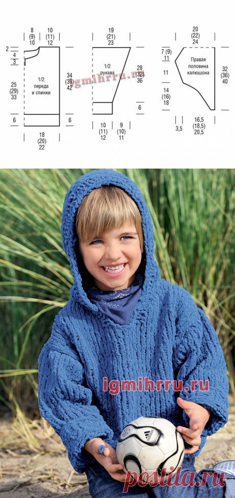 Для мальчика 3-9 лет. Синий джемпер с капюшоном. Вязание спицами для мальчиков