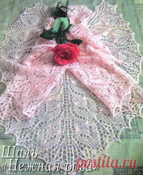 Шаль «Нежная роза». Shawl - Knit ~ DIY Tutorial Ideas!