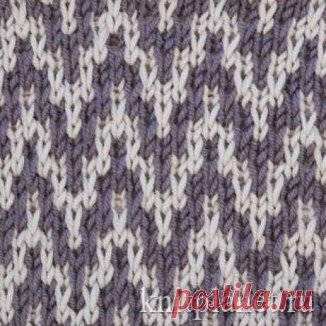 Планета Вязания | Узор зигзаг ленивым жаккардом. Схема вязания узора спицами.