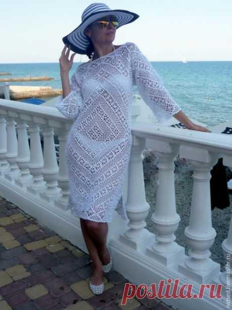 """Купить Туника-платье """"Променад"""" - белый, однотонный, пляжное платье, вязанное платье"""