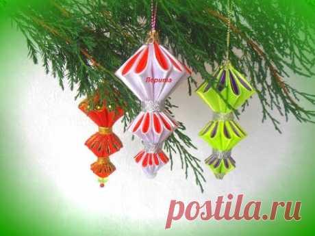 Ёлочные игрушки своими руками на Новый год,  сосульки, ширики, фонарики, Мк Лерита