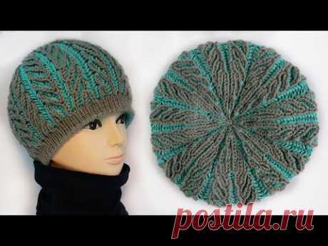 Шапка Бриошь «Елочка» спицами 🌿 Brioche hat knitting pattern