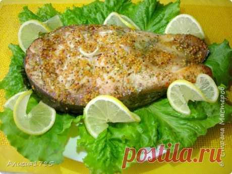 Запеченный стейк толстолобика в медово-горчичном Маринаде   Страна Мастеров