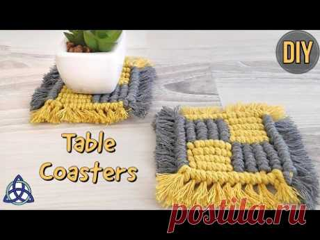 DIY Macrame Square Coasters | Table Decoration Ideas for Home