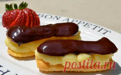 Eclairs – recipes in house conditions. Custard paste for eclairs. A collection of creams for eclairs and glazes