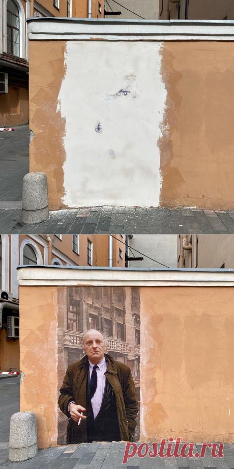 Петербургским коммунальщикам понадобилось полтора часа, чтобы закрасить новый портрет Иосифа Бродского возле музея писателя
