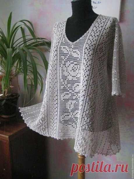 Филейное вязание женской одежды по схемам, как рассчитать размер | Светлана | Яндекс Дзен