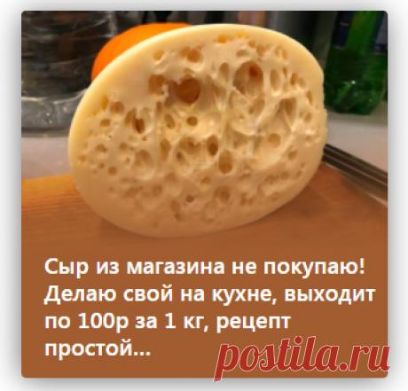 Сыр из магазина не покупаю! Делаю свой на кухне, выходит по 100р за 1 кг, рецепт простой…