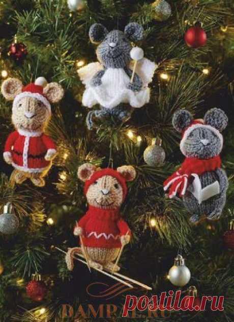 Вязаные ёлочные игрушки «Друзья-грызуны» | DAMские PALьчики. ru